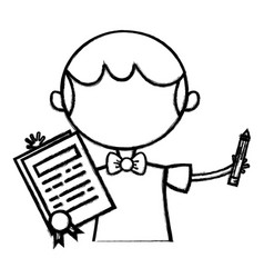 Line boy with notebook and hairstyle design vector