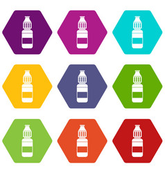 Liquid for electronic cigarettes icon set color vector
