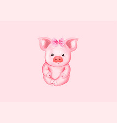 Little pig with a pink bow vector
