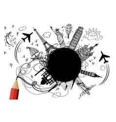 llandmark of the world by pencil drawing design vector image