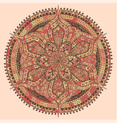 mandala colored red and yellow decoration vector image