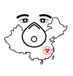 Mask respirator and map china novel vector