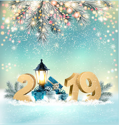 Merry christmas background with 2019 and gift vector