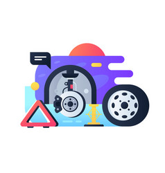 Modern wheel replacement process in car service vector