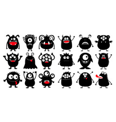 Monster black silhouette super big icon set happy vector