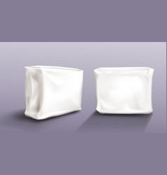 Napkin pack mock up set wet wipe towels package vector