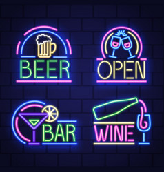 night neon signboard vector image
