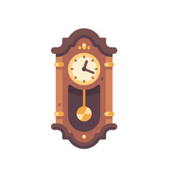 old wooden grandfather clock flat icon antique vector image