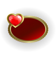 oval frame of gold color with a red heart vector image