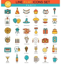 Party flat line icon set Modern elegant vector image