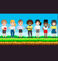 Pixel female characters for pixel-game stand vector