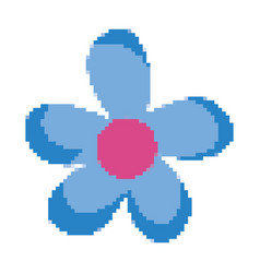 Pixelated nice flower style with petals vector