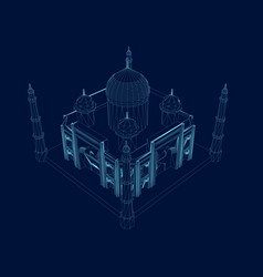 polygonal taj mahal wireframe isometric view an vector image