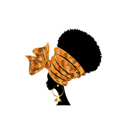 Portrait beautiful african woman in wax turban vector