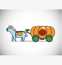 Pumpkin carriage for cinderella isolated vector