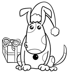 Puppy on christmas coloring book vector