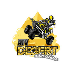 Quad bike off-road atv logo desert adventure vector
