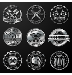Racing emblems metallic vector image