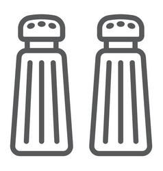 Salt and pepper shaker line icon kitchen vector