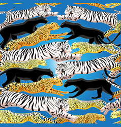 seamless bright jungle pattern panthers vector image