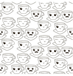 seamless pattern with hand drawn kawaii cup vector image