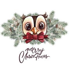 set of christmas woodland cute forest cartoon bear vector image