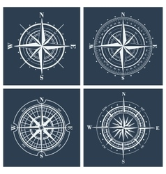 Set of compass roses vector image