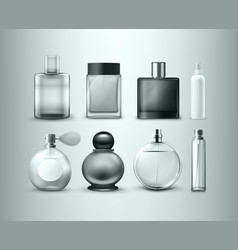 Set of different perfume bottles isolated vector