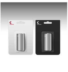 set of glossy alkaline c batteries in white vector image