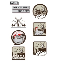 Set of Labels Logos for Farm and vector image