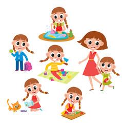 Set of little prescooler girl daily routines vector