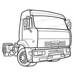 sketch a lorry only cabin without cargo vector image