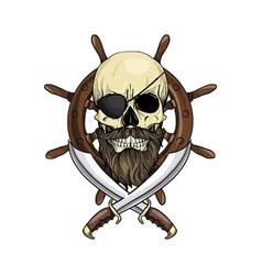 Sketch pirate skull vector