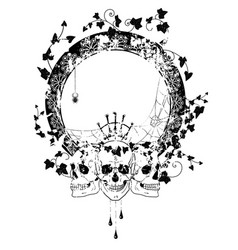 Skull spiderweb and ivy vector
