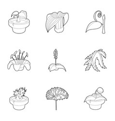 spring plants icons set outline style vector image