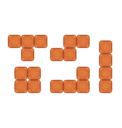 square brick pieces for game design vector image