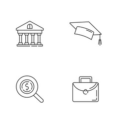 Student loan linear icons set vector