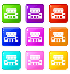 supermarket building icons 9 set vector image