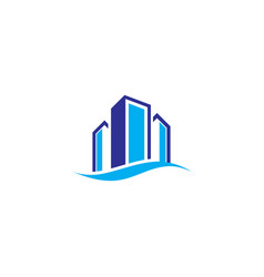 tower building wave business logo vector image