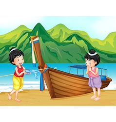 Two Thai girls greeting on the beach vector