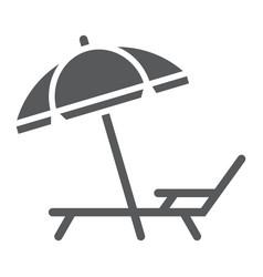 umbrella and sun lounge glyph icon travel vector image