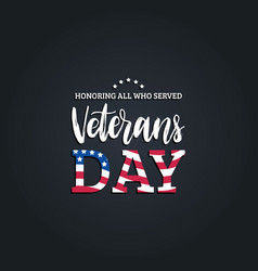 Veterans day hand lettering with usa flag vector