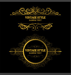 vintage decorations elements and frames gold color vector image