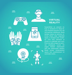 virtual reality concept poster with flat icons vector image
