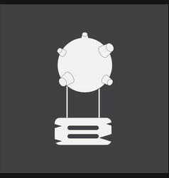 White icon on black background satellite base vector