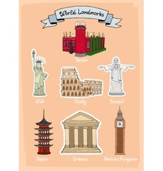 World landmarks icon set vector