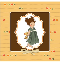 Young girl going to bed with her favorite toy a vector