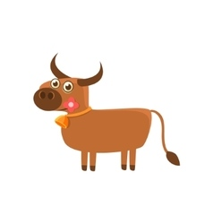 Bull With The Flower and A Bell vector image vector image