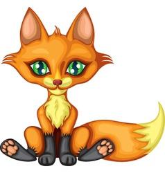 cute little red fox vector image vector image