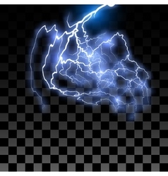 Lightning on the transparent background vector image vector image